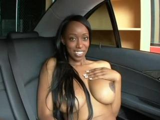 Huge-Titted Ebony Gal Nails Dick In Car