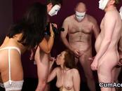 Kinky Centerfold Gets Sperm Load On Her Face Swallowing All The Cum